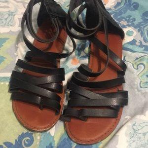Black strapped sandals